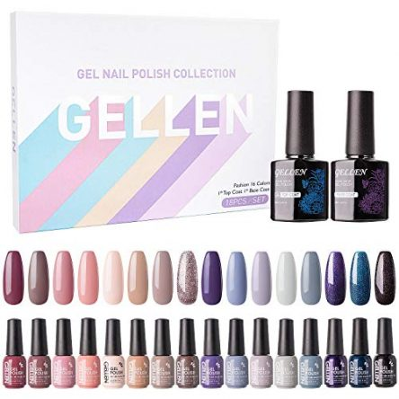 Gellen Gel Nail Polish Kit 16 Colors – Nude Grays...