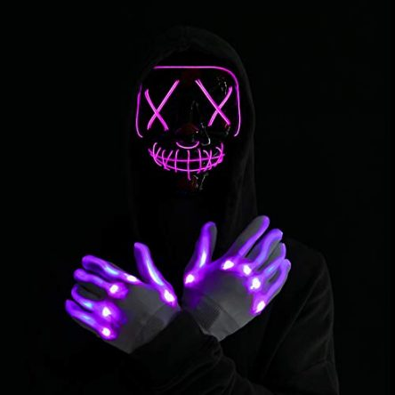 Halloween Led Mask Light Up Scary Mask and Gloves with...