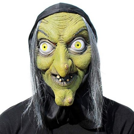 KOESON Scary Old Woman Witch Mask with Hair Halloween...